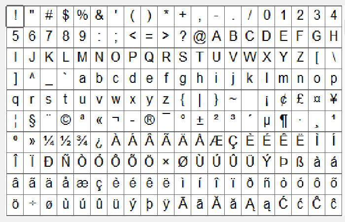 ALT key with the numeric keypad